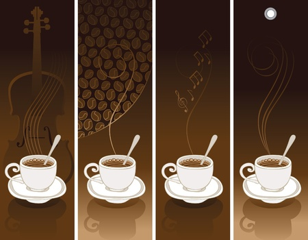 cup and saucer: set of four coffee banners