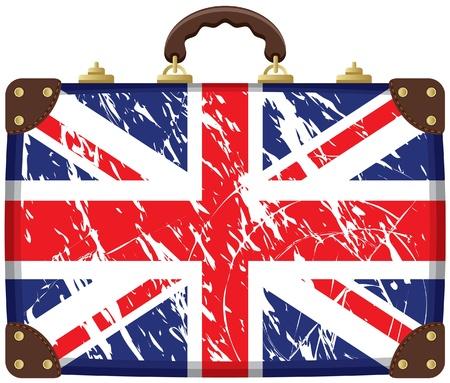 british culture: Bolsa de viaje con una bandera brit�nica Vectores