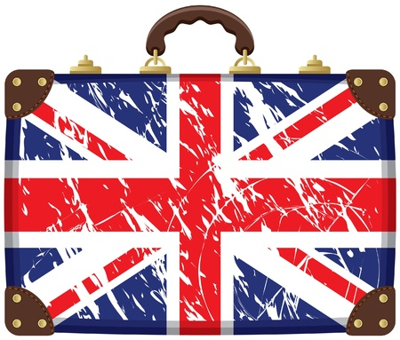 british culture: Travel bag with a British flag  Illustration