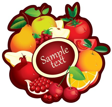 banner with fruit in a circle and place for text