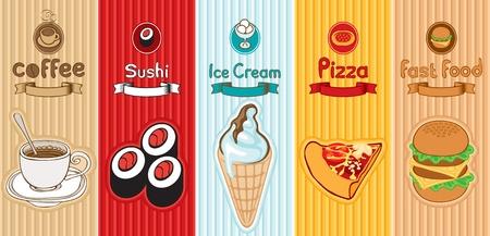bollos: cinco pancartas con diferentes alimentos Vectores