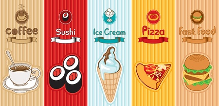 five banners with different food  Vector