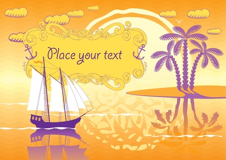 landscape of the island, sailboat and sunset  Vector