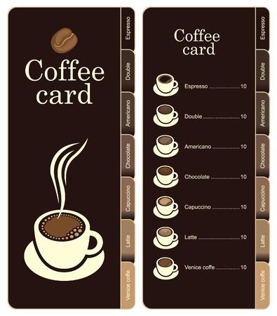 marcadores de libros: caf� tarjeta de men� para diferentes tipos de caf� Vectores