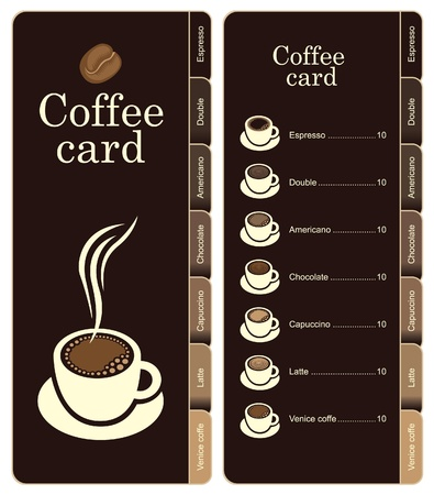 bookmark: coffee menu card for different types of coffee  Illustration
