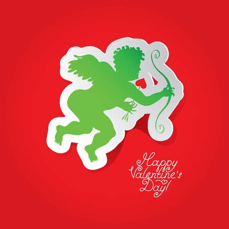 postcard with Cupid on red background  Vector