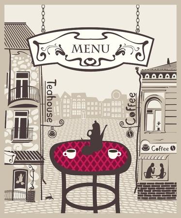City Cafe mit Tisch und heißem Tee