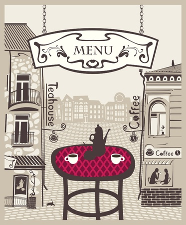 shop window: city cafe with table and hot tea Illustration