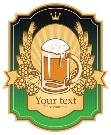 brouwerij: label met een bierglas, mout en tarwe