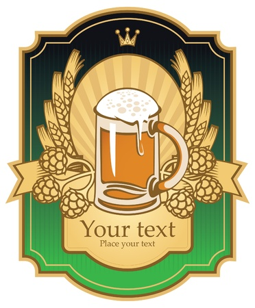 label with a beer glass, malt and wheat  Vector