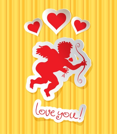 Cupid with three hearts on striped background  Vector