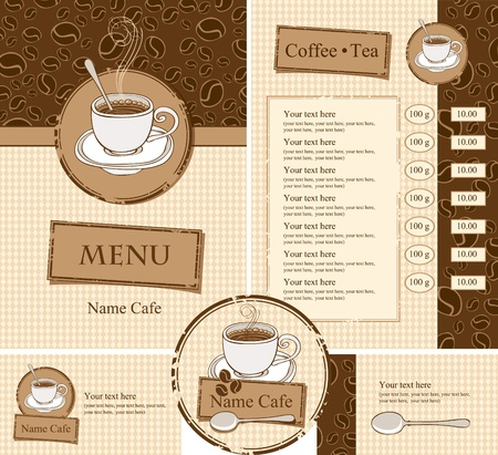 coffee shop: set for the cafe menu, business cards and coasters for drinks