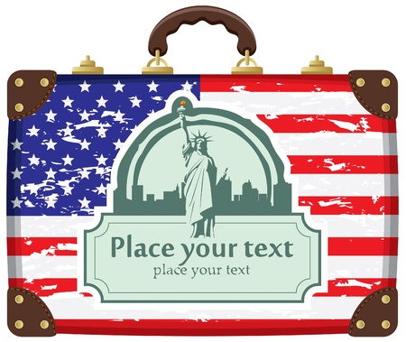 case with American flag and Statue of Liberty in background on New York City  Vector