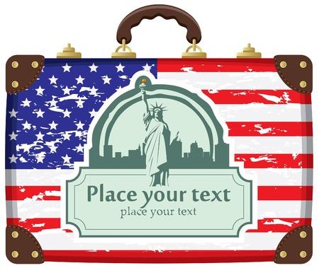 caso de la bandera americana y la Estatua de la Libertad de fondo en Nueva York