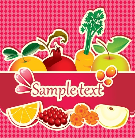fruit and vegetables: banner for juices and fresh fruit