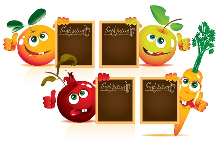 carrot juice: set of four fruits with smiling faces and bulletin board