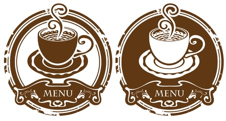 two images with cup of coffee or tea  Vector