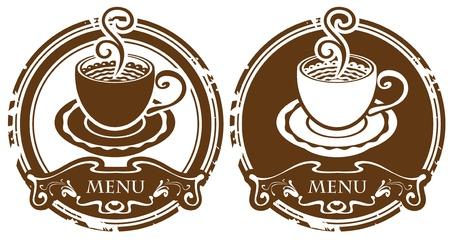 druckerei: zwei Bilder mit Tasse Kaffee oder Tee Illustration