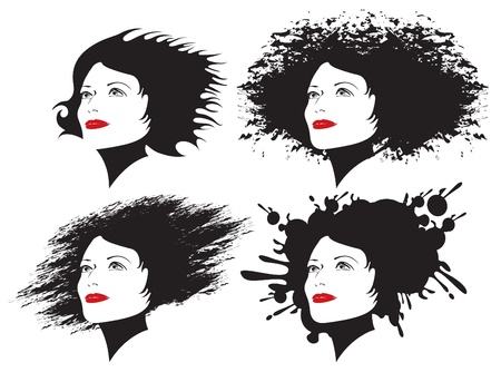 four girls with different hairstyles  Vector