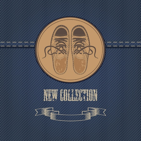 スニーカー: アパレル、靴のデニム生地のバナー