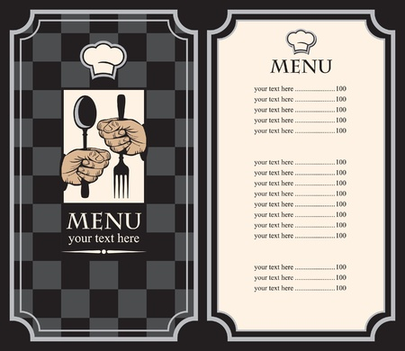 menu with hands and utensils on the chess background  Vector