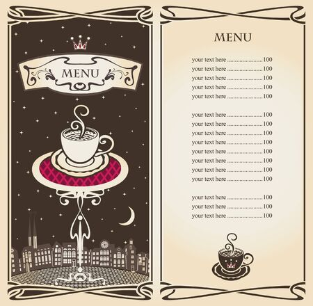 menu with urban landscape of the moon at night  Vector
