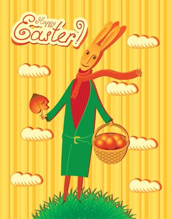 Postcard with rabbit and basket with eggs  Vector