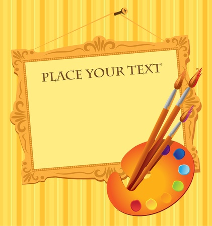 paleta de pintor: pancarta con la paleta, pinceles y el lugar de la etiqueta en el marco de la imagen