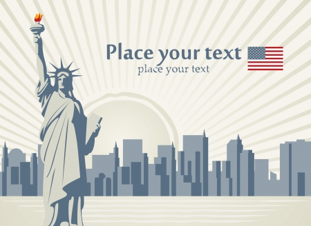 manhattan skyline: banner with statue of Liberty in background of New York  Illustration