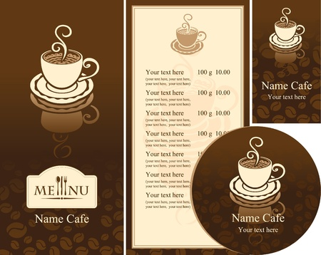 corporate identity for the cafe menu, business cards and coasters  Vector