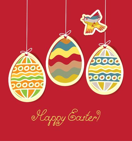 religious music: Banner for Easter with three colored eggs and flying bird  Illustration