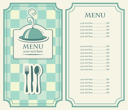 menu for cafe with covered tray and steam  Vector