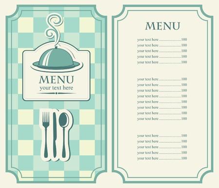 meny: Menyn för café med täckt bricka och ånga Illustration