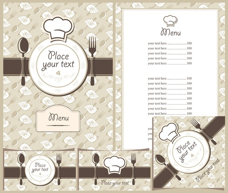 vintage cutlery: menus, business cards and stands cafe or restaurant