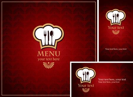 Menüs und Visitenkarten für Restaurant mit rotem Hintergrund Vektorgrafik
