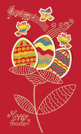 bird and flower of the Easter eggs Vector