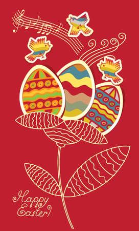 usignolo: uccelli e fiori delle uova di Pasqua Vettoriali
