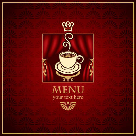 menu with cup of coffee with scenes  Vector