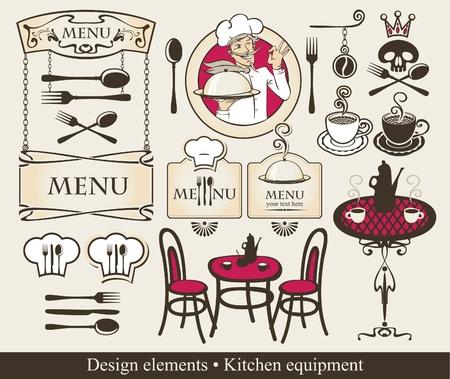 ensemble d'éléments de conception d'un café ou un restaurant