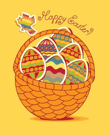 ruiseñor: Cesta de Pascua con los huevos y aves de corral