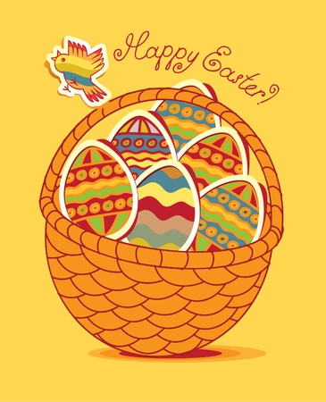 Easter basket with eggs and poultry Vector