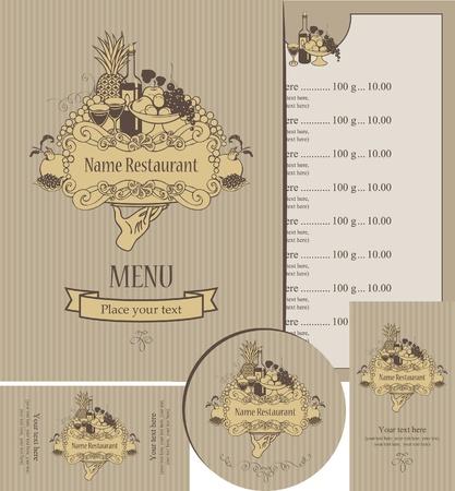 set of elements for design of restaurant
