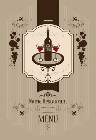 Menu with wine glasses and vine  Illustration