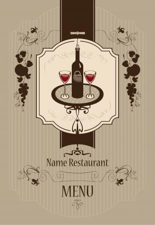 italian restaurant: Menu with wine glasses and vine  Illustration