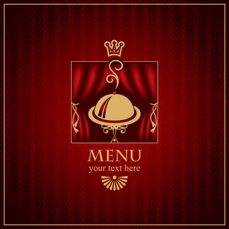 menu with a tray and a crown on a red background Stock Vector - 12490855