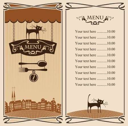 Menu for City Cafe with cat on sign  Vector