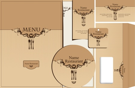 vintage cutlery: set of style elements for the design of restaurant  Illustration