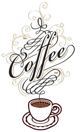 kroes: koffiekopje met een inscriptie in de vorm van stoom Stock Illustratie