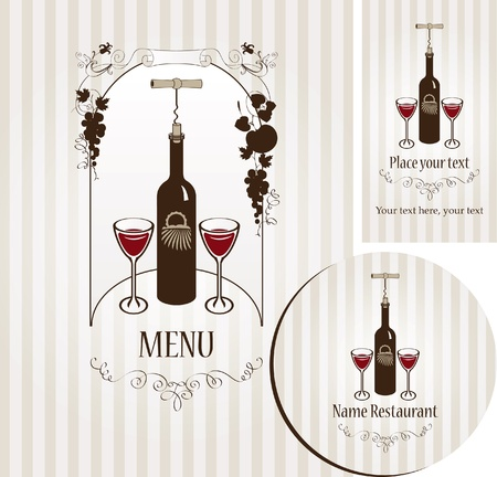 banner with bottle of wine, two glasses, and vine  Vector