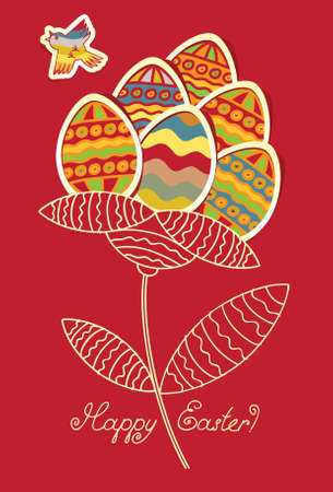 bird nightingale: Cards with flower of Easter eggs and flying bird